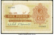 Cyprus Government of Cyprus 1 Pound 30.9.1951 Pick 24 Fine-Very Fine. Edge and internal tears.  HID09801242017