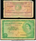 Cyprus Government of Cyprus 2 Shillings; 500 Mils 1.5.1942; 1.2.1956 Pick 21; 34a Very Good (2).   HID09801242017