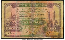 Egypt National Bank of Egypt 100 Pounds 4.6.1936 Pick 17c Very Good. Internal tears; tape repaired tears.  HID09801242017