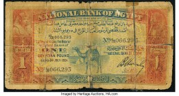 Egypt National Bank of Egypt 1 Pound 1924 Pick 18 Good. Major tape repaired tears; margin damage.  HID09801242017