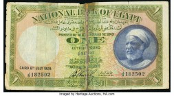 Egypt National Bank of Egypt 1 Pound 8.7.1928 Pick 20 Fine. Severed and reattached with tape.  HID09801242017