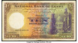 Egypt National Bank of Egypt 10 Pounds 10.3.1931 Pick 23a Fine-Very Fine. Edge and internal tears.  HID09801242017