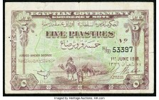 Egypt Egyptian Government 5 Piastres 1.6.1918 Pick 161 Very Fine. Pinholes.  HID09801242017