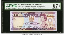 Fiji Central Monetary Authority 10 Dollars ND (1980) Pick 79a PMG Superb Gem Unc 67 EPQ.   HID09801242017