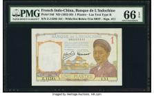 French Indochina Banque de l'Indo-Chine 1 Piastre ND (1932-39) Pick 54d PMG Gem Uncirculated 66 EPQ.   HID09801242017