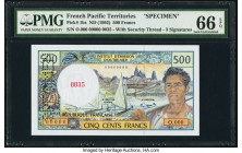 French Pacific Territories Institut d'Emission d'Outre-Mer 500 Francs ND (1992) Pick 1bs Specimen PMG Gem Uncirculated 66 EPQ. Roulette Specimen punch...