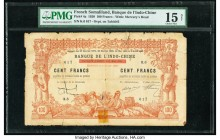 French Somaliland Banque de l'Indo-Chine 100 Francs 2.1.1920 Pick 4a PMG Choice Fine 15 Net. Paper damage, tape repair.  HID09801242017