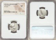 LUCANIA. Metapontum. Ca. 340-330 BC. AR stater (19mm, 5h). NGC VF. Ap- and Ami-, magistrates. Head of Leucippus right, wearing Corinthian helmet pushe...