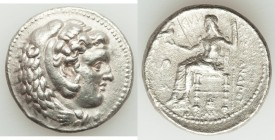 MACEDONIAN KINGDOM. Alexander III the Great (336-323 BC). AR tetradrachm (28mm, 16.49 gm, 9h). Choice XF, graffiti, porosity. Late lifetime-early post...