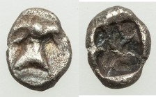 THRACO-MACEDONIAN. Uncertain tribe or region. Ca. 6th-5th centuries BC. AR hemiobol (7mm, 0.27 gm). VF, crystalized. Head of archaic ibex right / Roug...