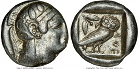 ATTICA. Athens. Ca. 465-455 BC. AR tetradrachm (23mm, 17.20 gm, 3h). NGC Choice XF 2/5 - 5/5. Head of Athena right, wearing crested Attic helmet ornam...
