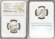 ATTICA. Athens. Ca. 465-455 BC. AR tetradrachm (24mm, 17.11 gm, 5h). NGC XF 5/5 - 3/5, graffito. Head of Athena right, wearing crested Attic helmet or...