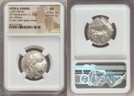 ATTICA. Athens. Ca. 455-440 BC. AR tetradrachm (25mm, 17.20 gm, 8h). NGC MS 4/5 - 5/5. Early transitional issue. Head of Athena right, wearing crested...