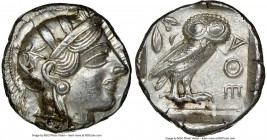 ATTICA. Athens. Ca. 440-404 BC. AR tetradrachm (25mm, 17.21 gm, 7h). NGC MS 5/5 - 3/5. Mid-mass coinage issue. Head of Athena right, wearing crested A...