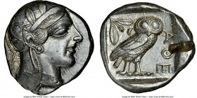 ATTICA. Athens. Ca. 440-404 BC. AR tetradrachm (26mm, 17.20 gm, 2h). NGC Choice AU 5/5 - 2/5, test cut. Mid-mass coinage issue. Head of Athena right, ...