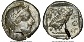 ATTICA. Athens. Ca. 440-404 BC. AR tetradrachm (24mm, 17.21 gm, 2h). NGC Choice AU 5/5 - 2/5, test cut. Mid-mass coinage issue. Head of Athena right, ...