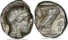 ATTICA. Athens. Ca. 440-404 BC. AR tetradrachm (26mm, 17.21 gm, 1h). NGC AU 4/5 - 4/5. Mid-mass coinage issue. Head of Athena right, wearing crested A...