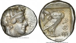 ATTICA. Athens. Ca. 440-404 BC. AR tetradrachm (26mm, 17.21 gm, 3h). NGC AU 4/5 - 4/5. Mid-mass coinage issue. Head of Athena right, wearing crested A...