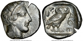 ATTICA. Athens. Ca. 440-404 BC. AR tetradrachm (25mm, 17.18 gm, 8h). NGC AU 4/5 - 3/5. Mid-mass coinage issue. Head of Athena right, wearing crested A...