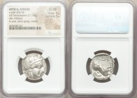 ATTICA. Athens. Ca. 440-404 BC. AR tetradrachm (23mm, 17.16 gm, 9h). NGC Choice XF 5/5 - 5/5. Mid-mass coinage issue. Head of Athena right, wearing cr...