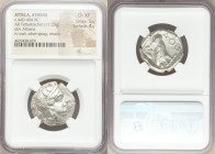 ATTICA. Athens. Ca. 440-404 BC. AR tetradrachm (25mm, 17.23 gm, 5h). NGC Choice XF 5/5 - 4/5. Mid-mass coinage issue. Head of Athena right, wearing cr...