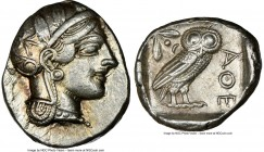 ATTICA. Athens. Ca. 440-404 BC. AR tetradrachm (27mm, 17.18 gm, 10h). NGC Choice XF 4/5 - 3/5. Mid-mass coinage issue. Head of Athena right, wearing c...