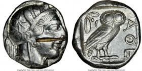 ATTICA. Athens. Ca. 440-404 BC. AR tetradrachm (24mm, 17.17 gm, 10h). NGC Choice XF 4/5 - 2/5, test cut. Mid-mass coinage issue. Head of Athena right,...