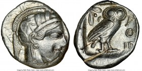 ATTICA. Athens. Ca. 440-404 BC. AR tetradrachm (25mm, 17.17 gm, 1h). NGC Choice XF 3/5 - 2/5, test cut. Mid-mass coinage issue. Head of Athena right, ...