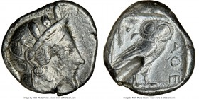 ATTICA. Athens. Ca. 440-404 BC. AR tetradrachm (24mm, 17.12 gm, 11h). NGC Choice VF 5/5 - 2/5, test cut. Mid-mass coinage issue. Head of Athena right,...