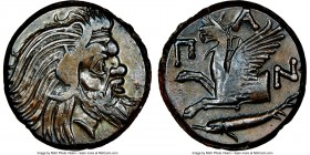 CIMMERIAN BOSPORUS. Panticapaeum. Ca. 4th century BC. AE (21mm, 12h). NGC Choice XF. Head of bearded Pan right / Π-A-N, forepart of griffin left, stur...
