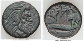 CIMMERIAN BOSPORUS. Panticapaeum. Ca. 4th century BC. AE (20mm, 6.87 gm, 11h). VF. Head of bearded Pan right / Π-A-N, forepart of griffin left, sturge...
