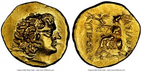 PONTIC KINGDOM. Mithradates VI (120-63 BC). AV stater (19mm, 8.28 gm, 12h). NGC MS 4/5 - 5/5, die shift. Istrus, in the name and types of Lysimachus o...