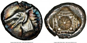 CARIA. Cindya. Ca. 510-480 BC. AR tetrobol or hemidrachm (18mm, 2.22 gm). NGC Choice AU 4/5 - 4/5. Head of ketos left / Design with four concave sides...