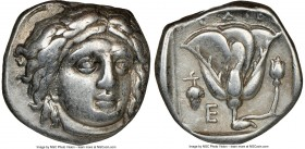 CARIAN ISLANDS. Rhodes. Ca. 340-305 BC. AR didrachm (19mm, 1h). NGC VF. Ca. 340-320 BC. Head of Helios facing, turned slightly right, hair parted in c...
