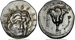 CARIAN ISLANDS. Rhodes. Ca. 250-200 BC. AR didrachm (21mm, 12h). NGC Choice VF. Mnasimaxos, magistrate. Radiate facing head of Helios, turned slightly...