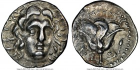 CARIAN ISLANDS. Rhodes. Ca. 205-190 BC. AR didrachm (20mm, 12h). NGC VF. Onasandros, magistrate. Radiate head of Helios facing, turned slightly right,...