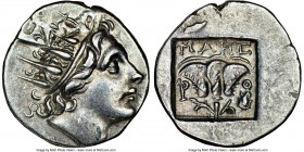 CARIAN ISLANDS. Rhodes. Ca. 88-84 BC. AR drachm (16mm, 12h). NGC AU. Plinthophoric standard, Maes, magistrate. Radiate head of Helios right / MAHΣ, ro...