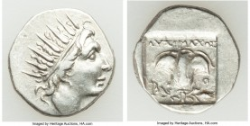 CARIAN ISLANDS. Rhodes. Ca. 88-84 BC. AR drachm (16mm, 2.83 gm, 12h). XF. Plinthophoric standard, Lysimachus, magistrate. Radiate head of Helios right...