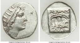 CARIAN ISLANDS. Rhodes. Ca. 88-84 BC. AR drachm (16mm, 2.22gm, 11h). VF. Plinthophoric standard, Philon, magistrate. Radiate head of Helios right / ΦI...