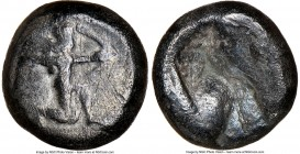 ACHAEMENID PERSIA. Darius I-Xerxes I (ca. 505-480 BC). AR siglos (15mm). NGC Fine, scratches. Sardes mint. Persian king or hero, wearing cidaris and c...