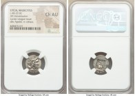 LYCIAN LEAGUE. Masicytes. Ca. 48-20 BC. AR hemidrachm (16mm, 1h). NGC Choice AU. Series 1. Laureate head of Apollo right; Λ-Y below / M-A, cithara (ly...