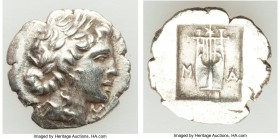 LYCIAN LEAGUE. Masicytes. Ca. 48-20 BC. AR hemidrachm (15mm, 1.79 gm, 12h). AU. Series 1. Laureate head of Apollo right; Λ-Y below / M-A, cithara (lyr...