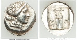 LYCIAN LEAGUE. Masicytes. Ca. 48-20 BC. AR hemidrachm (20mm, 2.13 gm, 12h). AU. Series 1. Laureate head of Apollo right; Λ-Y below / M-A, cithara (lyr...