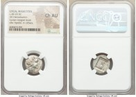 LYCIAN LEAGUE. Masicytes. Ca. 48-20 BC. AR hemidrachm (17mm, 1h). NGC Choice AU. Series 2. Laureate head of Apollo right, bow and quiver over left sho...