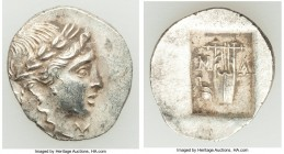 LYCIAN LEAGUE. Masicytes. Ca. 48-20 BC. AR hemidrachm (17mm, 1.68 gm, 12h). AU. Series 3. Laureate head of Apollo right; Λ-Y below / M-A, cithara (lyr...