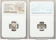 LYCIAN LEAGUE. Masicytes. Ca. 48-20 BC. AR hemidrachm (17mm, 12h). NGC Ch AU S 5/5 - 4/5. Series 3. Laureate head of Apollo right; Λ-Y below / M-A, ci...