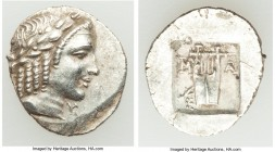LYCIAN LEAGUE. Masicytes. Ca. 48-20 BC. AR hemidrachm (16mm, 1.71 gm, 12h). AU. Series 5. Laureate head of Apollo right; Λ-Y below / M-A, cithara (lyr...