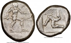 PAMPHYLIA. Aspendus. Ca. mid-5th century BC. AR stater (22mm, 4h). NGC Choice VF. Helmeted nude hoplite warrior advancing right, shield in left hand, ...