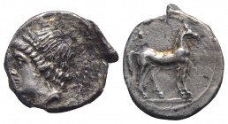 Bruttium, Carthaginian occupation, c. 215-205 BC. AR Quarter Shekel (14mm, 1.80g, 9h). Wreathed head of Tanit-Demeter l. R/ Horse standing r. HNItaly ...