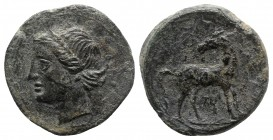 Bruttium, Carthaginian occupation, c. 215-205 BC. Æ (22mm, 8.10g, 10h). Wreathed head of Tanit-Demeter l. R/ Horse standing r., head reverted. HNItaly...